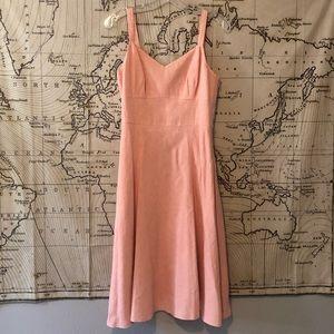 Pink Linen LOFT Midi Dress